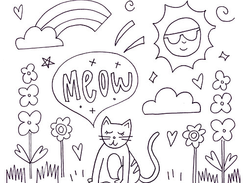 Cat Coloring Sheet