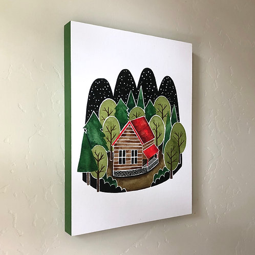 Forest Cabin 9x12 Wood Panel