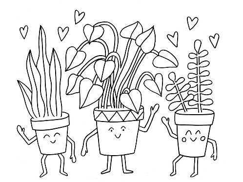 Party Plants Coloring Sheet