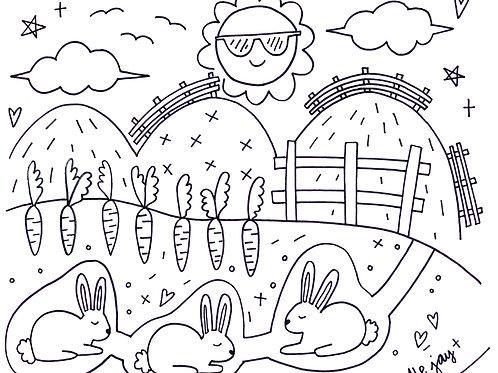 Bunnies Coloring Sheet