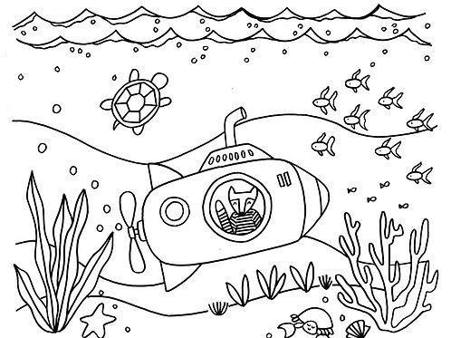 Submarine Coloring Sheet
