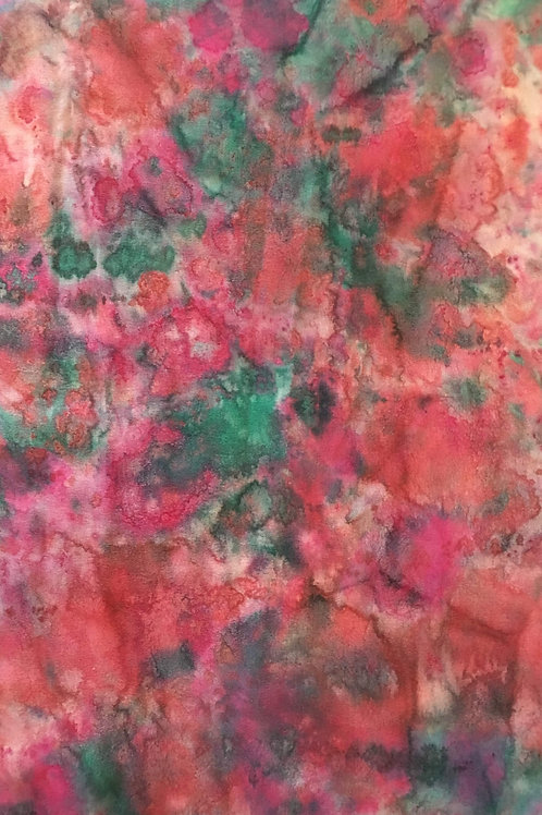 Silk satin scarf in red, orange, green