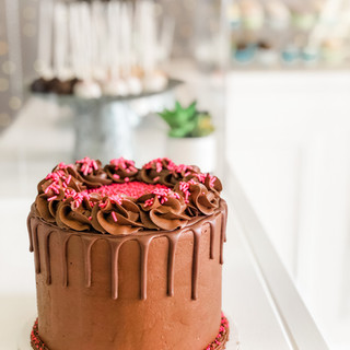 Chocolate Cake + Pink Sprinkles
