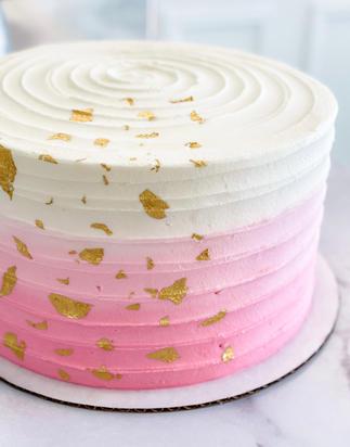 Pink Ombre Cake + Gold Leaf