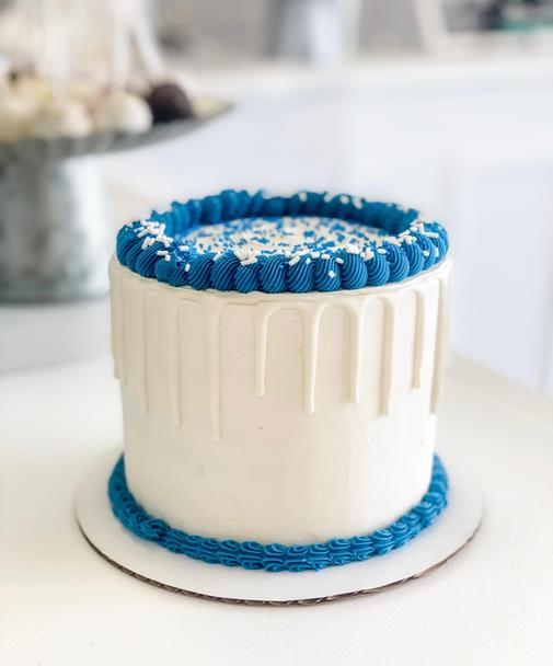 Blue + White Cake