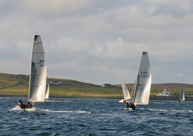 Shetland Model racers on a broad reach.J
