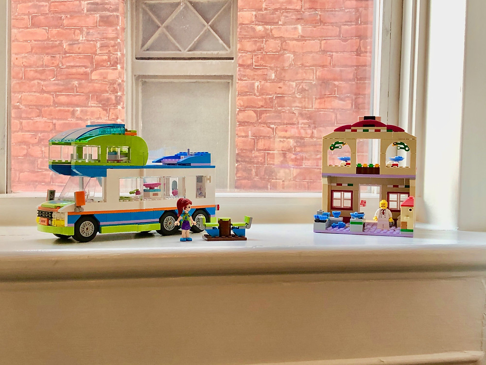 Lego creations on display on windowsill