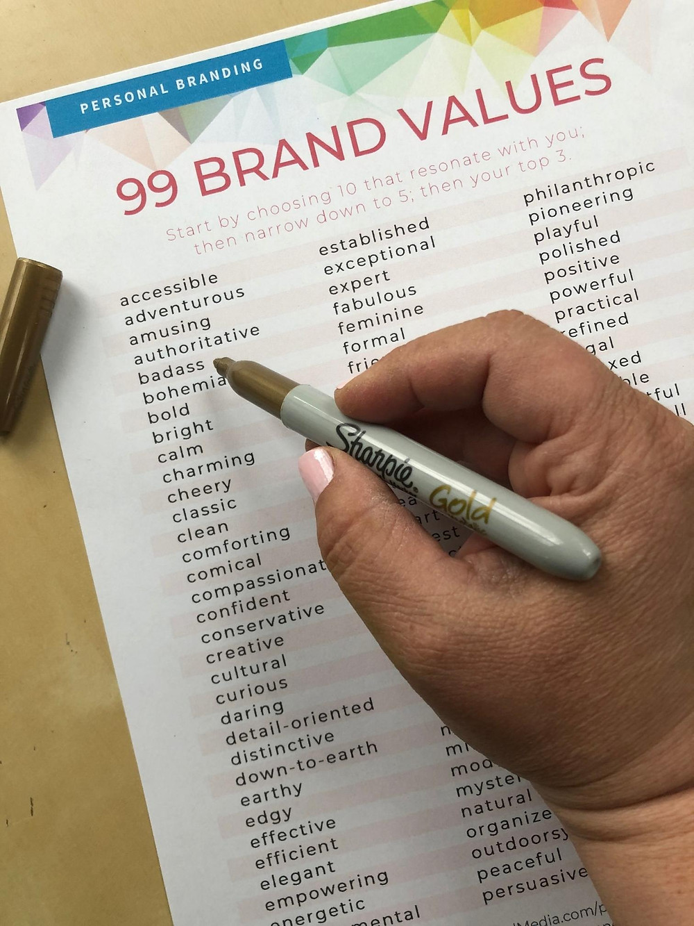 99 Brand Values Exercise by Val Lonergan free download PDF form for personal branding and developing a personal brand