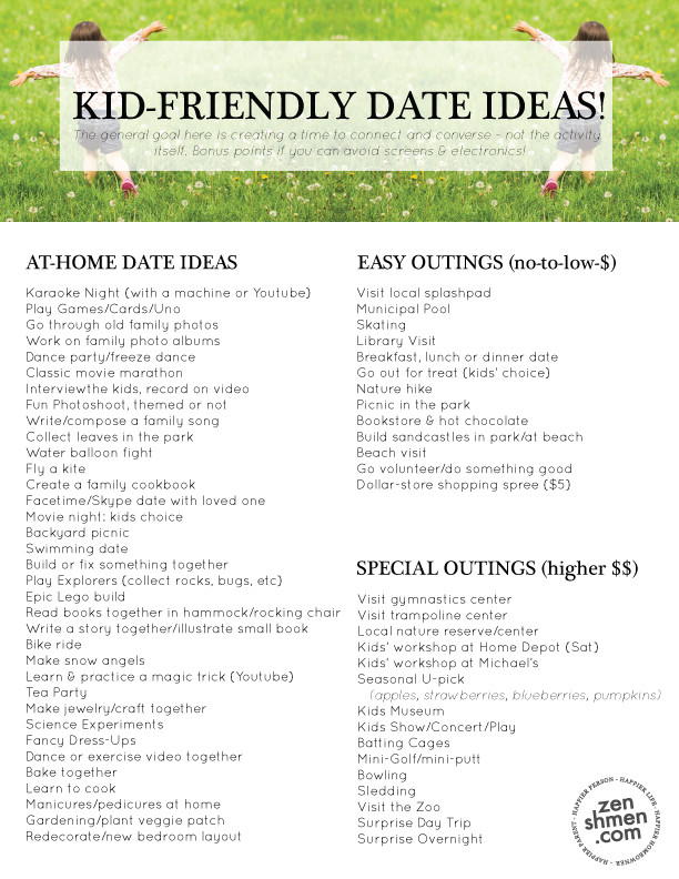 Kid-Friendly Date Ideas | Free Download | Zenshmen.com