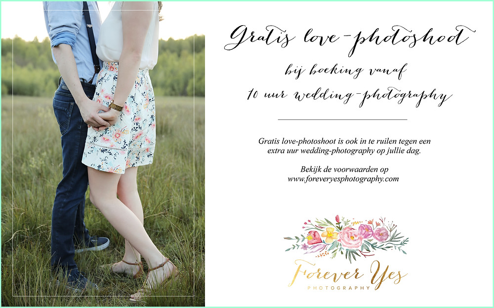 Gratis love-shoot bij wedding 6 uur.