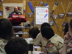 Scouts learn about Aquatic First Aid