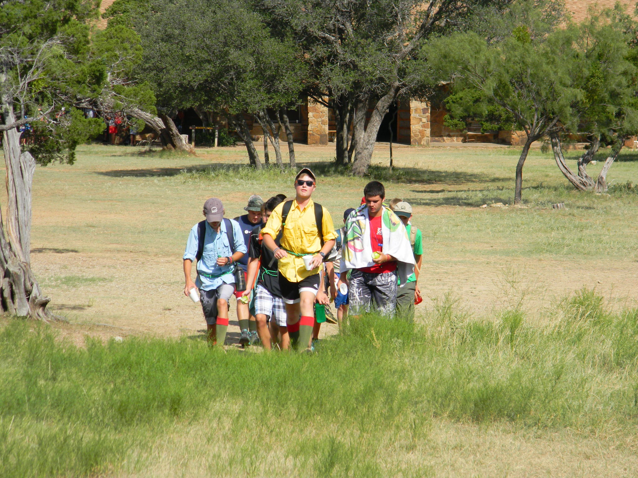 Scouts hike to and from classes