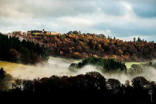 A3 size print - Autumn mists below Chirk Castle