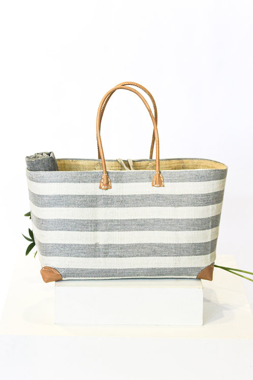 Striped Light Grey Beach Basket