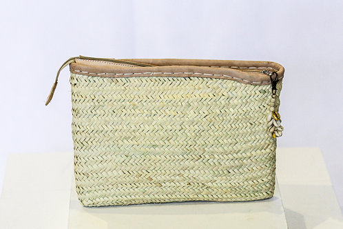 Seagrass Palm Clutch with Leather Trim