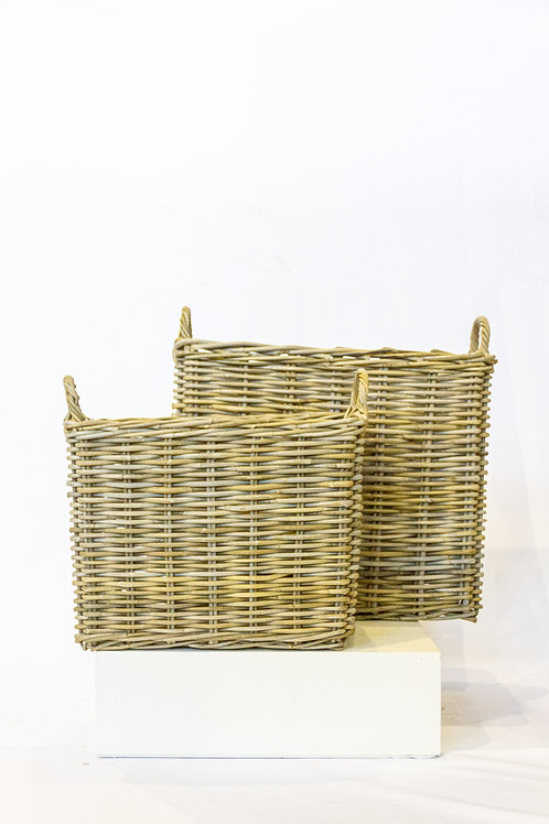 Large Rectangle Rattan Basket with Handles