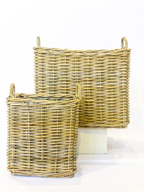 Large Square Rattan Basket with Handles