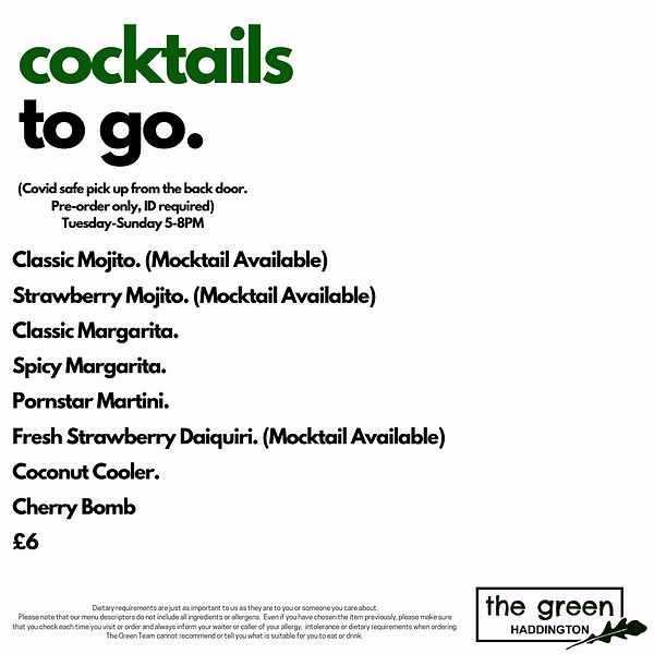Cocktails at The Green Haddington