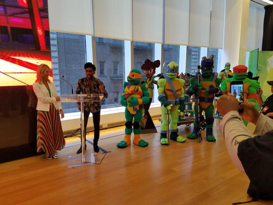 New 'Rise of the Teenage Mutant Ninja Turtles' merch on display at Viacom/Nickelodeon 'W