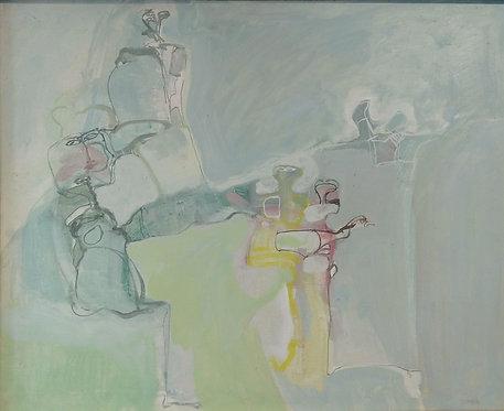 """""""Abstracto verde"""". Mixta sobre tabla"""