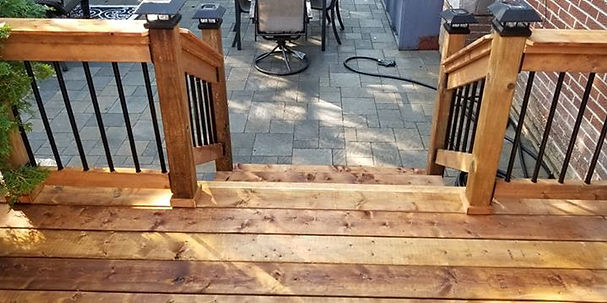repaired wood deck stairs