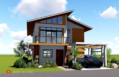 Modern Two Storey House Design with 3 Bedrooms Area = 63 sq.m (7mx9m)