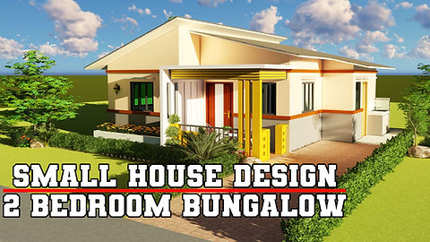 Two Bedroom Bungalow Type House Design with an area of 49 sq.m.