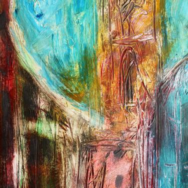 Circus Lane, Stockbridge, acrylic with mixed media on paper, 21cm x 36cm