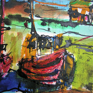 Port Seton fishing boat, ink and pastel on paper, 20cm x 30cm