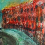Royal Circus, Edinburgh, acrylic with mixed media on board, 20cm x 23cm
