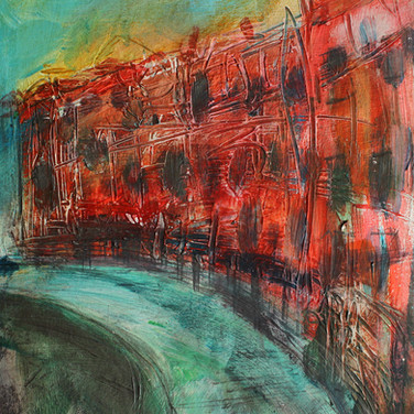 Royal Circus, Edinburgh, acrylic with mixed media on board, 20cm x 23cm
