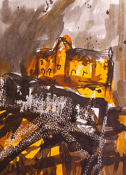 sold Edinburgh Castle, mixed media 32cm