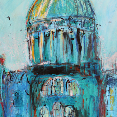 West Register House, acrylic, ink and pastel on card, 71cm x 54cm