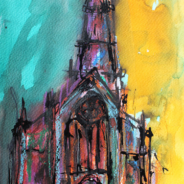 Glasgow Cathedral I, mixed media on paper, 20cm x 30cm