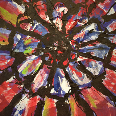 Rose Window, collage with acrylic on paper, 20cm x 45cm