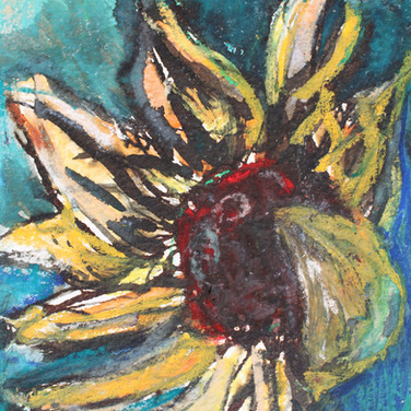 Sunflower II, mixed media on paper, 12cm x 17cm