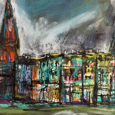 Bruntsfield, Edinburgh, ink with mixed media on paper, 40cm x 33cm