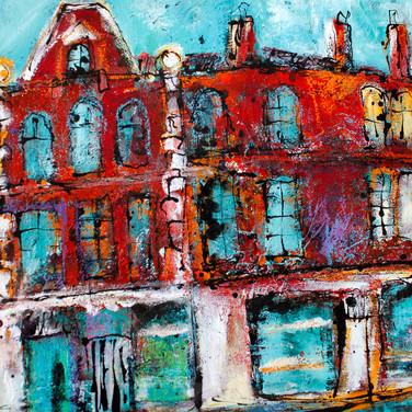 Morningside, Edinburgh, acrylic on paper, 84cm x 73cm