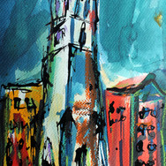 Glasgow Church, mixed media with ink on paper, 20cm x 30cm