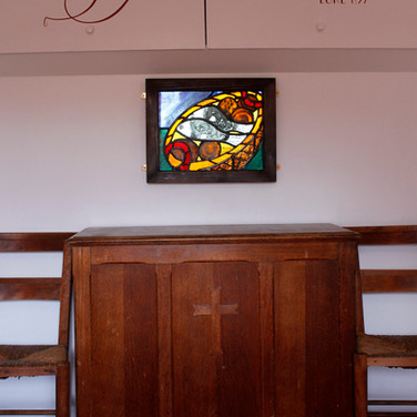 Loaves and fish panel fitted in Mobile Church, in situ, East Lothian, 2013
