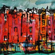 Bruntsfield, Edinburgh, ink on paper, 25cm x 11cm