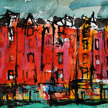 Bruntsfield, Edinburgh, ink on paper, 25cm x 11cm