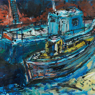 Port Seton Fishing Boats, acrylic, 50cm x 85cm (image credit Gordon Bell)