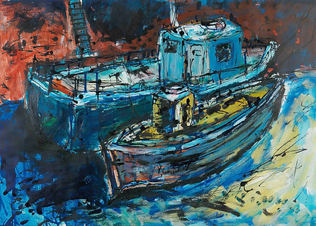 Port Seton Fishing Boats, acrylic.jpg