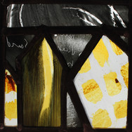 Home, silver stain, glass paint, wax and sandblasting, 2016