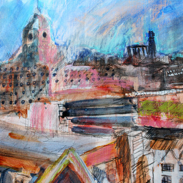 Edinburgh, looking North, watercolour and pastel on paper, 40cm x 36cm