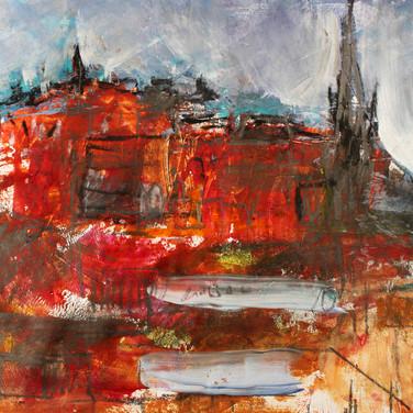 Edinburgh, mixed media on paper, 20cm x 16cm