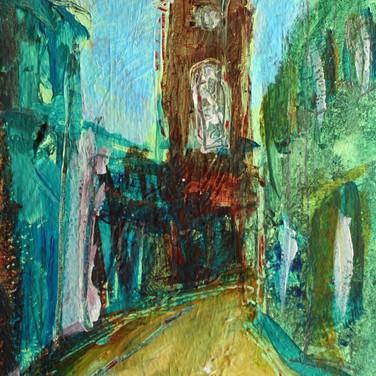 Circus Lane study, Edinburgh, acrylic on paper, 13cm x 18cm