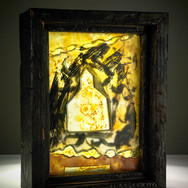 Shelter II, layered, painted, stained and sandblasted glass, 2016 (image credit Gordon Bell)