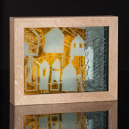 Community, sandblasted, layered glass with mixed media drawing, 2018 (image credit Gordon Bell)